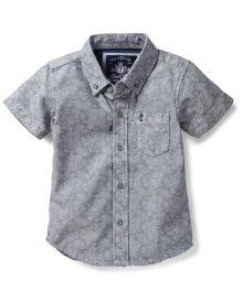Gini & Jony Half Sleeves Shirt Self Design - Grey