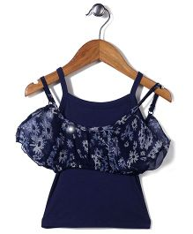Gini & Jony Singlet Layered Top Floral Print - Blue