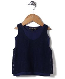 Gini & Jony Part Wear Woven Top - Navy