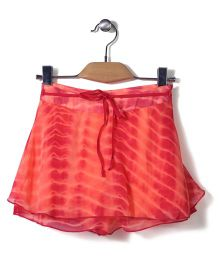 Gini & Jony Skirt With Fabric Belt - Red And Coral