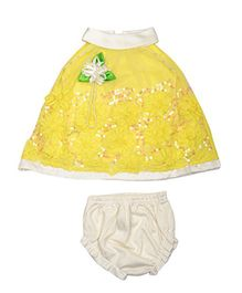 Lady Li'l Sleeveless Frock With Bloomer Floral Applique - Yellow White