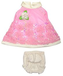 Lady Li'l Sleeveless Frock With Bloomer Floral Applique - Pink White