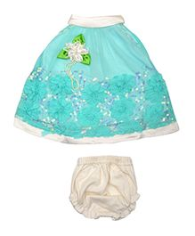 Lady Li'l Sleeveless Frock With Bloomer Floral Applique - Green White