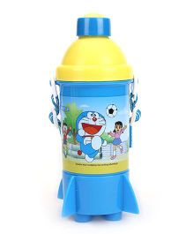 Doraemon Rocket Base Push Button Sipper Water Bottle - Yellow & Blue