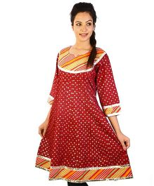 Little India Three Fouth Sleeves Patchwork Designer Party Wear Maternity Kurti - Red