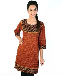Little India Three Fourth Sleeves Jaipuri Designer Printed Maternity Kurti - Red Black