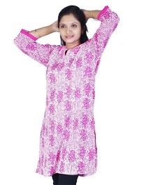 Little India Three Fourth Sleeves Designer Floral Print Maternity Kurti -  Pink