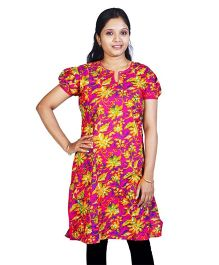 Little India Half Sleeves Ethnic Design Printed Kurti - Fuchsia
