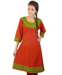 Little India Designer Maternity Dotted Kurti - Red Green