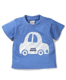 Play By Little Kangaroos Half Sleeves T-Shirt Car Print - Blue