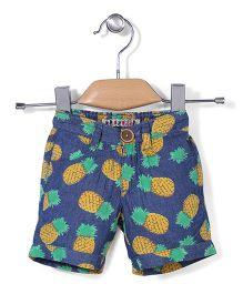 Vitamins Denim Shorts Pineapple Print - Blue