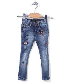 Vitamins Denim Full Length Jeans Rock Embroidery - Blue