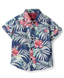 Vitamins Half Sleeves Shirt Floral Print - Blue