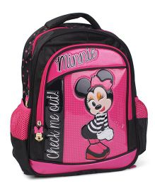 Minnie Mouse School Bag Pink Black - 14 Inches