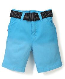 Spark Solid Color Shorts With Belt - Blue