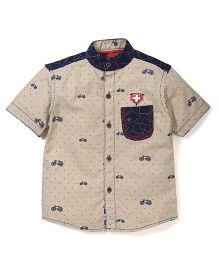 Spark Half Sleeves Cycle Printed Shirt - Fawn