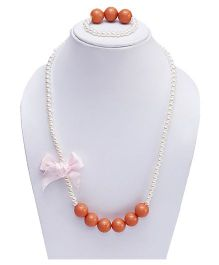 D'chica Bubblegum Love Necklace & Bracelet Set - Peach
