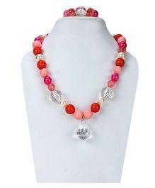 D'Chica A Colourful Symphony Of Beads Bracelet & Necklace Set - Multicolour