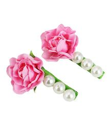 D'chica  Pearls And Roses Clips For Girls - Pink & White