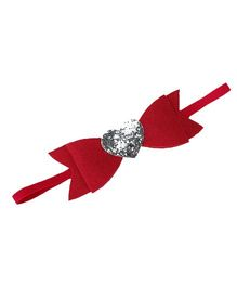 D'Chica Shiny Little Heart In A Bow Headband For Girls - Red & Silver