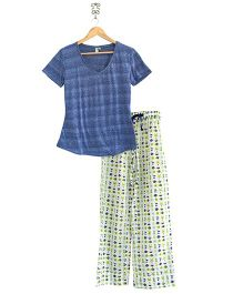 Frangipani Kids Beach Adventure Print Top & Pajama Set - Blue & Multicolour