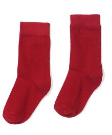 Cute Walk by Babyhug Cotton Solid Color Socks - Red