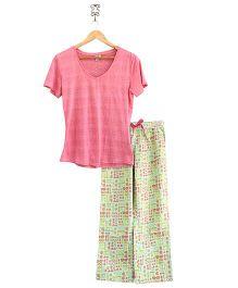 Frangipani Kids Sunglasses Print Top & Pajama Set - Pink & Lime Green