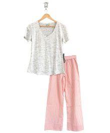 Frangipani Kids Pinstripe Print Top & Pajama Set - Grey & Peach