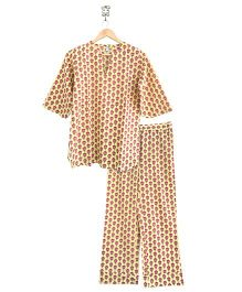 Frangipani Kids Lotus Print Top & Pajama Set - Yellow & Pink