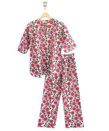 Frangipani Kids Floral Vines Print Top & Pajama Set - White & Pink