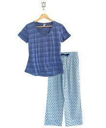 Frangipani Kids Fish Print Top & Pajama Set - Blue