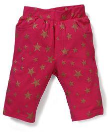 Button Noses Full Length Leggings Star Print - Pink