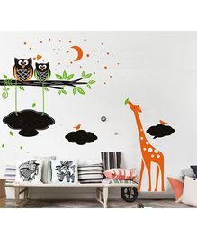UberLyfe Giraffe Moon With Chalkboard Pigmented Wall Sticker