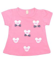 Kiwi Short Sleeves Cotton Top Bow Applique - Pink