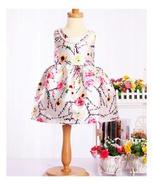 Cherubbaby Satin Flower Print Dress - Cream