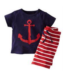 Cherubbaby Anchor Print Tee & Stripes Print Shorts - Blue & Red