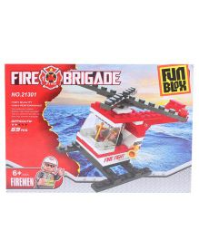 Fun Blox Fire Brigade Helicopter Blocks - 69 Pieces
