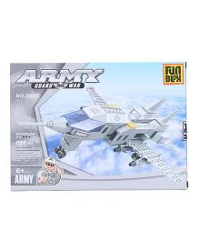 Fun Blox Army Fighter Plane Blocks Set White - 228 Pieces