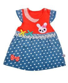 Kiwi Bunny Face Applique Cap Sleeves Casual Frock - Blue & Red