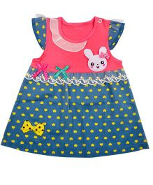 Kiwi Bunny Face Applique Cap Sleeves Casual Frock - Blue & Pink