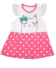 Kiwi Short Sleeves Frock Kitty Face Print - Pink