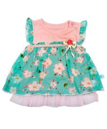 Kiwi Flutter Sleeves Frock Floral Applique - Green And Peach
