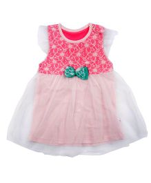 Kiwi Short Sleeves Frock Bow Applique - White And Pink