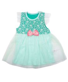 Kiwi Short Sleeves Frock Bow Applique - White And Green