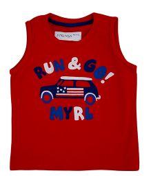 Kuddle Kids Sleeveless Run & Go Print T- Shirt  -  Red