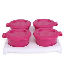 Tommee Tippee Explora Pop Up Freezer Pots And Tray Pink White - 4 Pieces