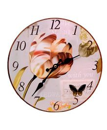 Home Union Designer Vintage Flower Wall Clock - Pink