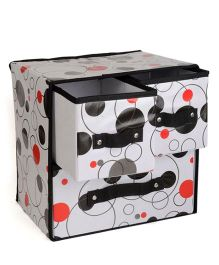Home Union Foldable Storage Box With 3 Drawers - Black & Multicolour