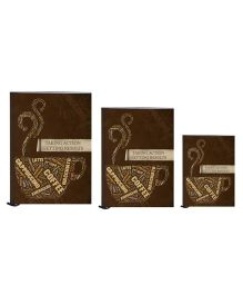 Tiara Diaries Multi Caption New Designer Lakarta Notebook Chocolate Brown - Set Of 3
