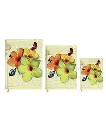 Tiara Diaries Floral New Designer Lakarta Notebook  - Set Of 3